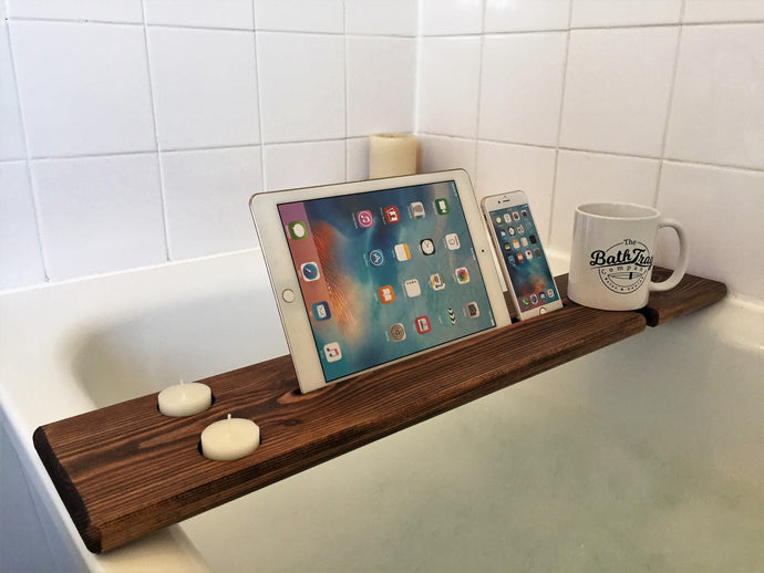 Personalised Engraved Wooden Bath Tray Caddy Walnut