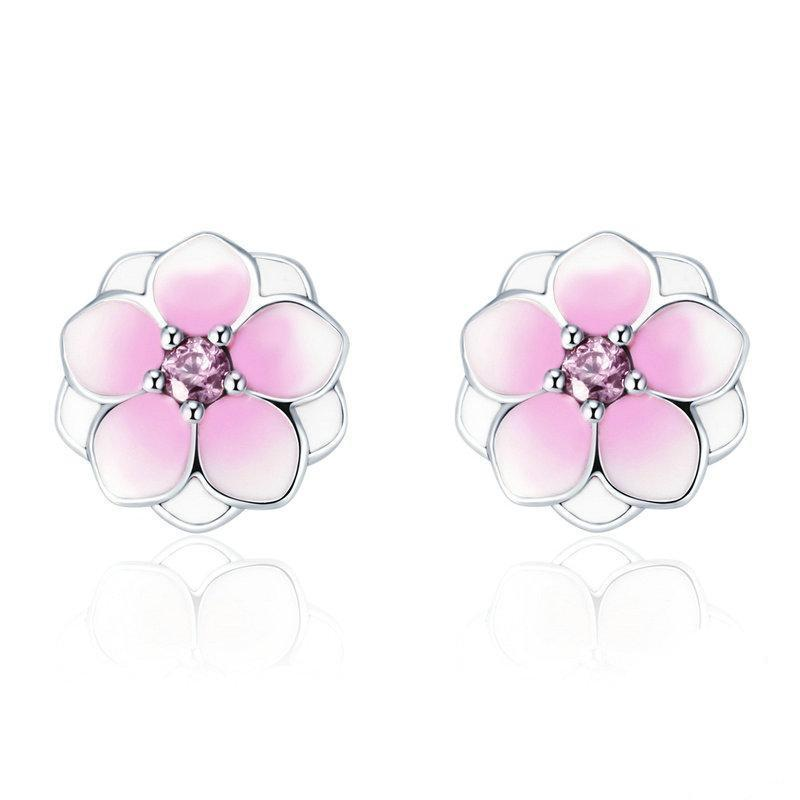 zirconia floral earrings stud flower crystal cubic cz bridal bridesmaid earings