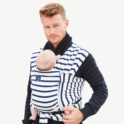 Pocket wrap carrier 100% organic - french sailor & free matching bib