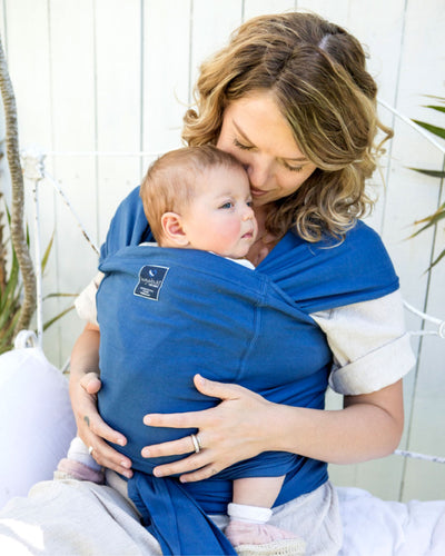 Pocket wrap carrier 100% organic carrier - byron blue & FREE BABY EINSTEIN: Baby MacDonald - A Day on the Farm DVD (rrp $22.95)