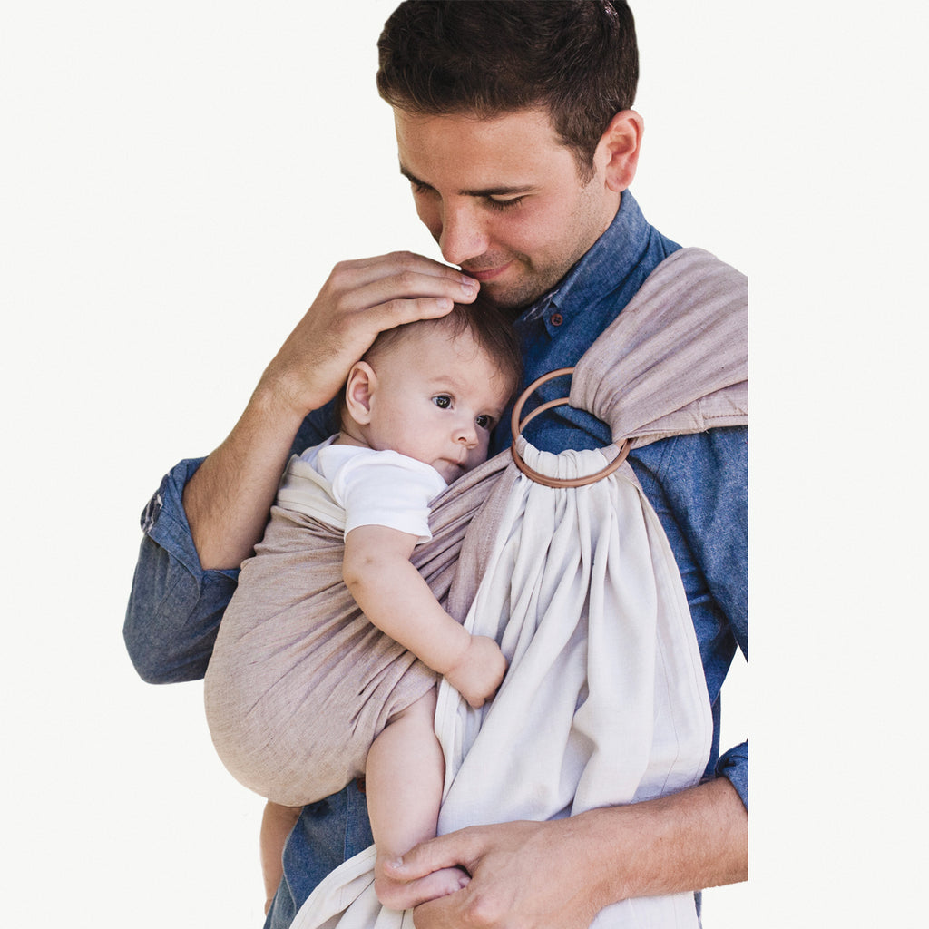 Reversible ring sling 100% organic - sand/stone & FREE BABY EINSTEIN: Baby MacDonald - A Day on the Farm DVD (rrp $22.95)