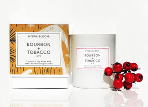 Hydra Bloom Bourbon + Tobacco Wood Wick Candle | Lucy B's