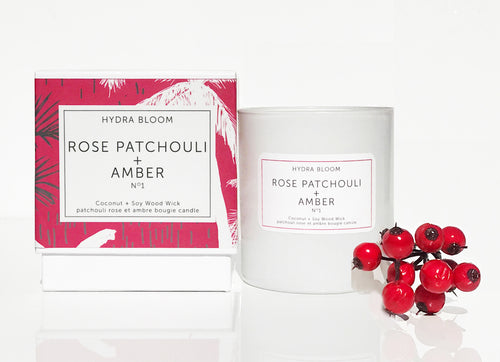 Hydra Bloom Rose Patchouli + Amber Wood Wick Candle | Lucy B's