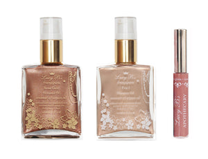 Rose Gold & Pearl Frangipani Shimmer Oils & Nudie Lip Gloss (Shipping Included)
