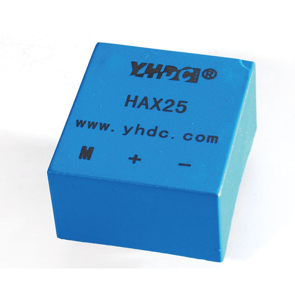 Hall closed loop variable range current sensor HAX25 Rated input ±25A Rated output 25mA - PowerUC