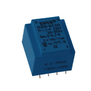 PE series PCB safety isolation transformer PE2010-M 110V/220V/230V 0.5VA - PowerUC