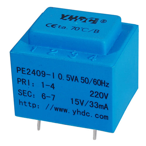 PCB safety isolation transformer PE2409-I  110V / 220V / 230V 0.5VA - PowerUC