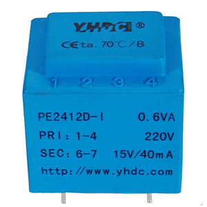 PE series PCB safety isolation transformer PE2412-I 110V/2220V/230V 0.5VA - PowerUC
