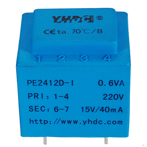 PE series PCB safety isolation transformer PE2412-I 110V/220V/230V 0.5VA - PowerUC
