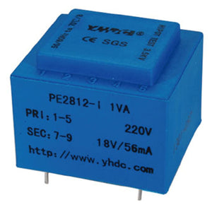 PE series PCB safety isolation transformer PE2812-I 110V/220V/230V 1VA - PowerUC