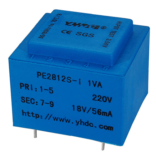 PE series PCB safety isolation transformer PE2812S-I 230V 1.5VA - PowerUC