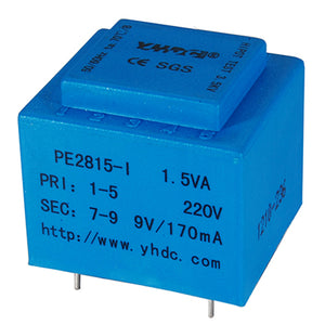 PCB safety isolation transformer PE2815-I 110V / 220V / 230V 1.5VA - PowerUC