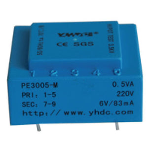 PE series PCB safety isolation transformer PE3005-M 110V/220V/230V 0.5VA - PowerUC