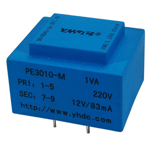 PE series PCB safety isolation transformer PE3010-M 110V/220V/230V 1VA - PowerUC