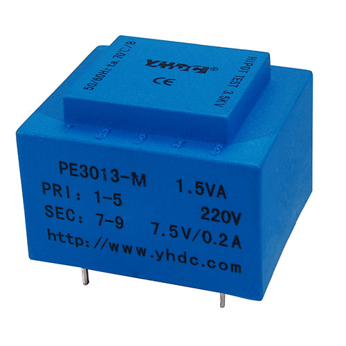 PE series PCB safety isolation transformer PE3013-M 110V/220V/230V 1.5VA - PowerUC