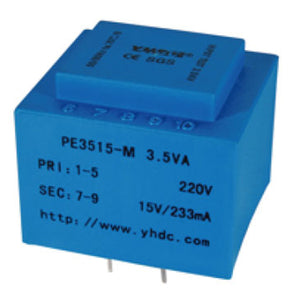 PE series PCB safety isolation transformer PE3515-M 110V/220V/230V 3.5VA - PowerUC