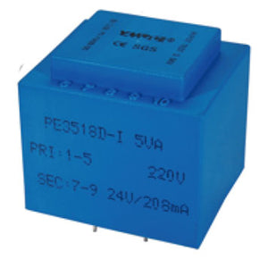 PE series PCB safety isolation transformer PE3518-I 110V/220V/230V 5VA - PowerUC