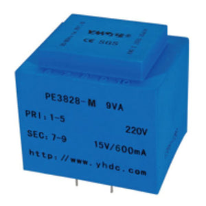 PCB safety isolation transformer PE3828-M 110V / 220V / 230V 9VA - PowerUC