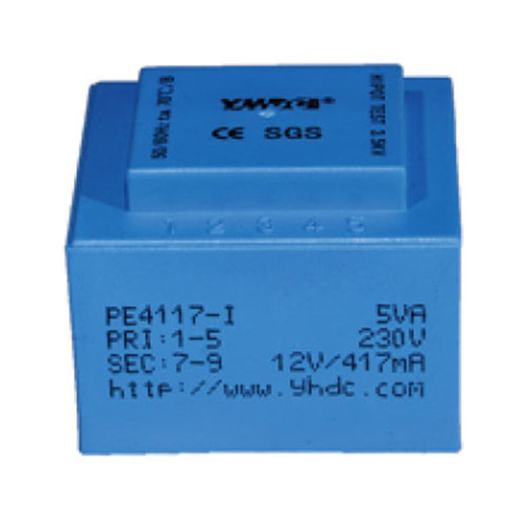 PE series PCB safety isolation transformer PE4117-I 110V/220V/230V 5VA - PowerUC