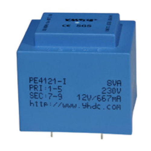 PE series PCB safety isolation transformer PE4121-I  230V 8VA - PowerUC