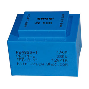 PE series PCB safety isolation transformer PE4820-I  110V/220V/230V  12VA - PowerUC