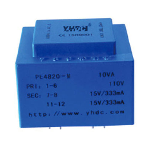 PE series PCB safety isolation transformer PE4820-M 110V/220V/230V 12VA - PowerUC