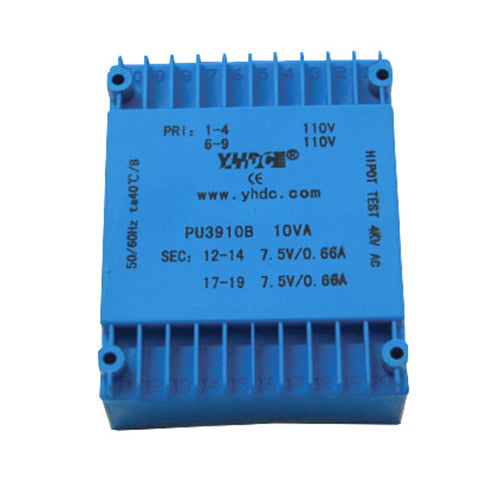 PU series flat type isolation transformer PU3910B 110V×2  10VA