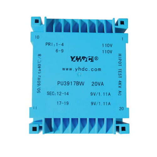 PU series flat type isolation transformer PU3917BW 110V×2 24VA