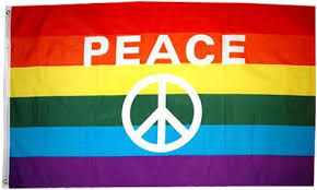 Peace Symbol Rainbow Pride Flag - freeloveapparel