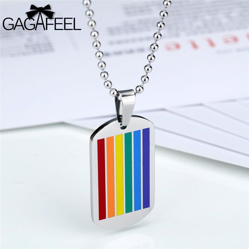 Rainbow Dog Tag Necklace - freeloveapparel