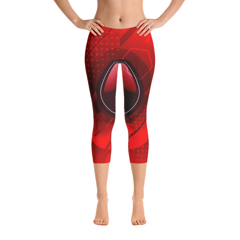 Red Abstract Capri Leggings