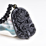 Natural Black Obsidian Dragon Carving