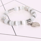 Cat Eye Beads Bracelet with Heart Pendant