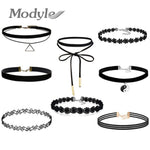 10Pcs/set Women Black Rope Choker