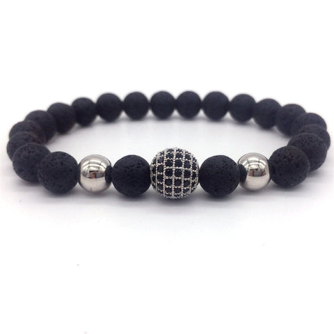 8mm Lava Smatte Stone Beads And Black CZ Ball Bracelet