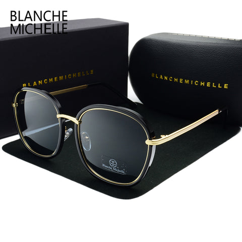 BLANCHE MICHELLE 2018  Square Gold Frame Polarized Sunglasses