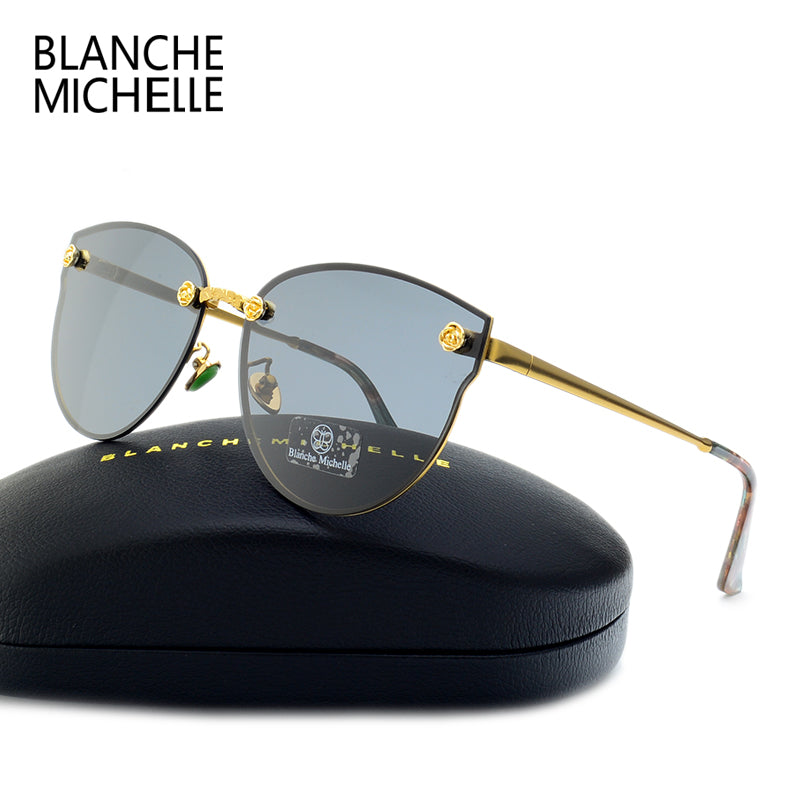 BLANCHE MICHELLE Cat Eye Rose Decoration Polarized Sunglasses