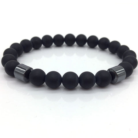 8mm Matte Bead with Column Hematite Bracelet