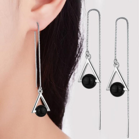 Natural Black Crystal Tassel Earrings