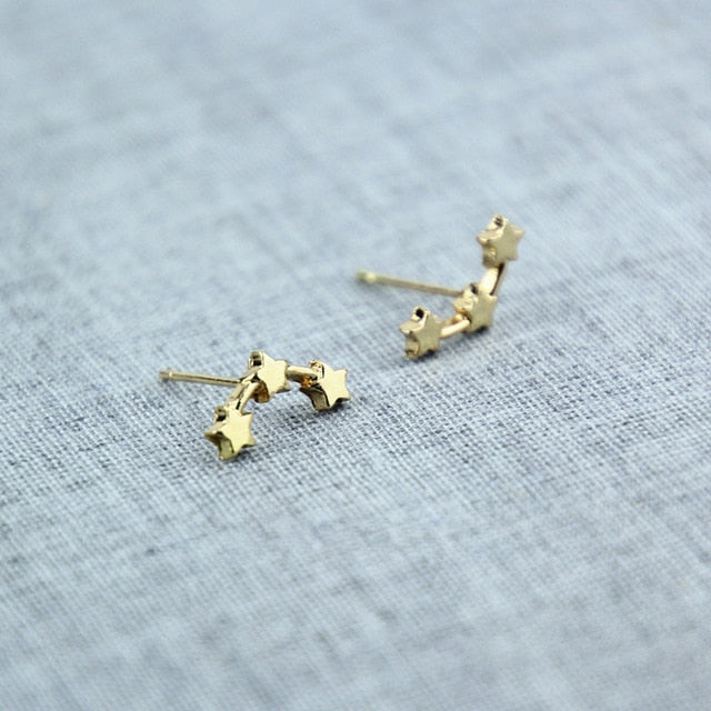 Double Sided Gold Silver Earrings