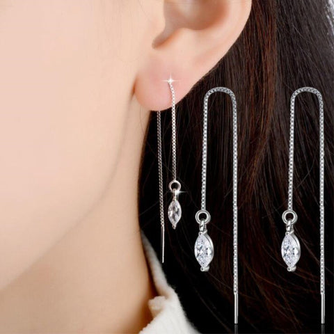 White Thread Tassel Drop Earrings