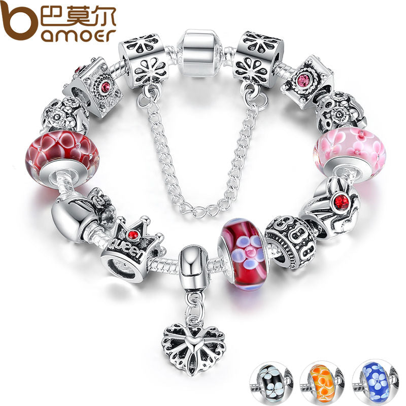 Silver Charm With Queen Crown Beads