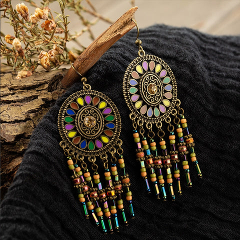 Vintage Beads Tassel Earrings