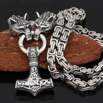 Wolf Head Norse Viking Necklace