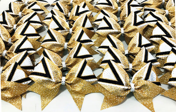 vegas gold, black and white glitter rhinestone bow