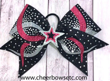 Load image into Gallery viewer, Blush pink, silver and black 3D infinity cheer bow with rhinestones