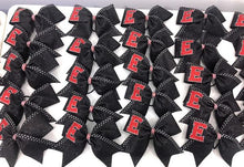 Load image into Gallery viewer, Red and Black glitter rhinestone logo bows.