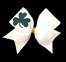 Load image into Gallery viewer, Lucky Shamrock cheerleading hair bow