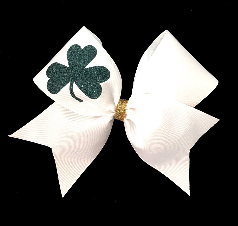 Lucky Shamrock cheerleading hair bow