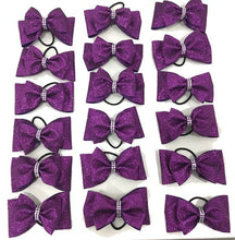Load image into Gallery viewer, purple tailless bow with rhinestones